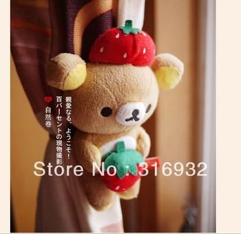C2 Free shipping cute Curtain accessories Fruit Rilakkuma Bear Plush Curtain Buckle, good qualitiy, 1 pair
