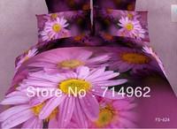 New Beautiful 4PC 100% Cotton Comforter Duvet Doona Cover Sets FULL / QUEEN / KING SIZE bedding set 4pcs purple flowers