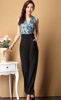 Plus size wide leg pants trousers jumpsuit elastic jumpsuit female summer female slim jumpsuit