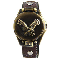 2013 New Bolun B1649 Eagle Pattern Men's 12 Arabic Numbers Hour Marks Leather Band Wrist Watch Free Shipping