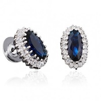 Oval Sapphire and CZ Loyal Style Post Earring