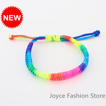 Min Order $10,2014 Fashion Cuff Bangle Bracelet Cool Candy Color Fashion Rope Bracelet Bracelets Jewelry, 12psc/lot,B05