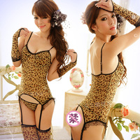 New arrival temptation leopard print game uniforms tight sexy one-piece multiple female set