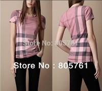 Free Shipping 2013 Summer New Fashion Burb Brand Women T-shirt,Women Short Sleeve T-shirt, Pink Plaid Shirt 6025