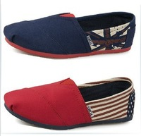 2013 NEW Male and female couple models Striped Flag Flat Casual Canvas shoes Sneakers