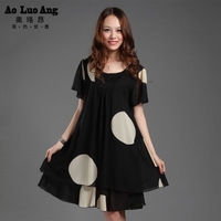 Plus size summer 2013 women one-piece dress loose chiffon skirt female skirt