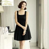 Summer spaghetti strap one-piece dress fairy strapless chiffon sleeveless vest black beach dress bohemia plus size
