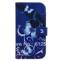 Purple Butterfly Card Slot Wallet Leather Cover Case for Samsung Galaxy S3 I9300