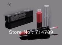free shipping new makeup 2 IN 1 WATERPROOF LIPSTICK & LIP GLOSS LIP STICK LIPGLOSS(100pcs/lot)20 colors choose