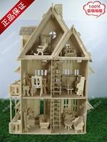 Wooden model 3d educational toys diy small log cabin furniture bundle diy house