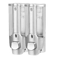 Household silver soap dispenser double slider manual soap dispenser shampoo shower gel hand sanitizer box