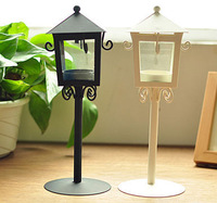 Romantic Classical Stand Pavilion Iron Candle Holders Storm Lantern Home Decoration