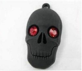 Back to School gift!!Fashion Creative Black Ruby Eyes Skeleton Head USB 2.0 Memory Stick Flash Drive 4GB 8GB16GB 32GB