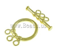 Free shipping!!!Brass Toggle Clasp,Womens Jewelry Fashion, Donut, gold color plated, 3-strand, nickel, lead & cadmium free