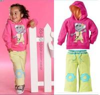 hot sale wholesale 5sets/lot new fashion autumn girl cartoon t-shirt + pants suit 2pcs sport kids tracksuit  free sipping