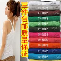 Autumn new arrival 3 slim cross 100% cotton spaghetti strap long design spaghetti strap vest female basic shirt