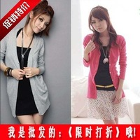 Spring and summer 100% cotton female long-sleeve 100% 2 medium-long cotton cardigan knitted shawl buckle shirt