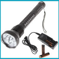FREE SHIPPING !  Waterproof 6000LM Securitylng 5 x CREE XM-L U2 LED Super Long Flashlight + Charger + 3 x 18650 Battery