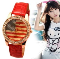 New five color luxury American flag dress Rhinestone women watch free shipping