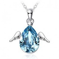 New 2014 Mothers Day Fashion Charms Cute Jewelry Silver Plated Angel Wing Water Drop Austrian Crystal Necklace For Women