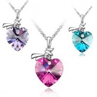 New 2014 Wholesale Heart Vintage Crystal Pendant Necklace Made from Austrian crystal element nickel free available in 7 colors
