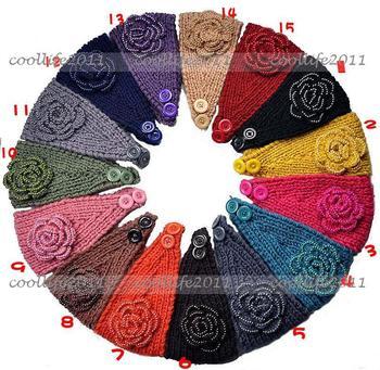 Free shipping 20 pcs/Lot Adult Women peal Knit Hairband Head Wrap Headband Crochet Hair Band Warmer