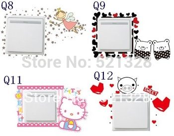 Free shipping creative switch stickers pvc switch stickers more designs 20pcs/lot  Socket stickers Wholesale 280cfx