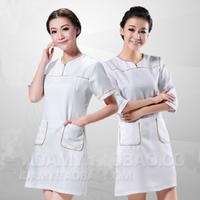 free shipping 2013 summer beautician work clothes wear half-sleeve beautician dress