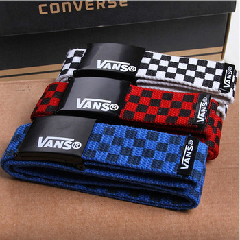 Fashion smooth buckle belt check casual strap male women's lovers design knitted canvas belt
