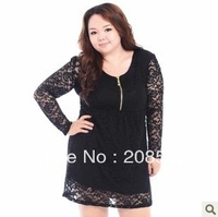 Free shipping one-piece dress XXXXL big size plus black lace dress long-sleeve wth zipper V-neck slim black for fat women