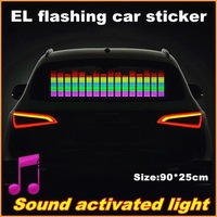 90x25 Genuine High Quality Equalizer Sound Active flashing EL car Sticker 5colors Car Music Rhythm Lamp free shipping