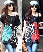 New Arrival, fashionable Lycra flower print T shirts model 9380, colorful, Free shipping