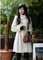 2013 Hot Sale  Free Shipping Double Breasted Long Sleeve Elegant Wool Winter Coat  For Lady  White Size S/M/L JR0019