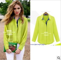 2013 Autumn&winter, European style elegant fashion soft chiffon long sleeve ladies blouse women's shirt
