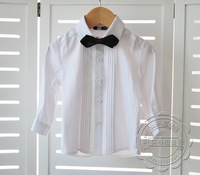 New 2014 spring and autumn boys clothing white cotton long-sleeve shirt baby boy suit vest formal dress shirt