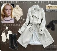 2013 Women's Free Shipping Fashion Long Sleeve Woolen Velvet Long OverCoats Belted JR0020-1