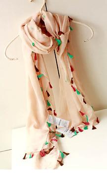 2013 fresh casual sweet all-match multicolour tassel long scarf plain scarf