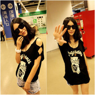 hot sale Free shipping summer women cheap clothing 6985 spring and summer temptation small sexy strapless t-shirt perfume tee