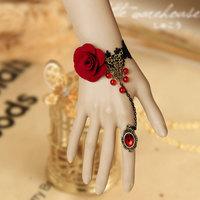 Vintage red  handflower charm  bracelet black  lace slave bracelet party bracelet  WS-54