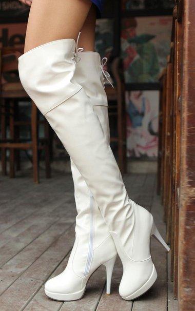 Сапоги женщин мода длинные загрузки Зимняя