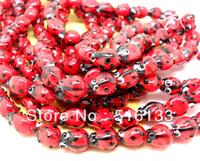 Free Shipping 60pcs Red Ladybug Lampwork Glass Bead Fashion Beads for Bracelet 11x8mm
