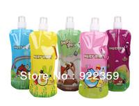 10PCS Cartoon Portable folding sports water bottle foldable bottles outdoor sport bag 480ml 16oz plastic ice bag