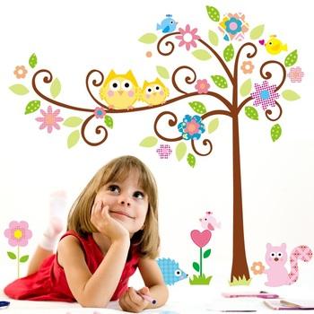 Design/RoomMates Scroll Cute Owl Tree Peel & Stick Wall Decal Kindergarten 110*120 cm Removable Wall Sticker ZY1001