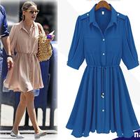 2013 spring and summer chiffon one-piece dress fashion lantern sleeve epaulette one-piece dress