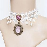 Vintage wedding pink charm necklace  lace choker necklace JL-94