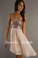Fast Delivery+Fashion N2779 Sequined High Low Prom Sexy Clubwear Tube Style High Skirt