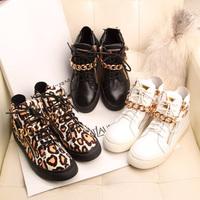 Fashion 2013 women's genuine leather casual shoes leopard print metal zipper flat lacing skateboarding shoes high-top shoes