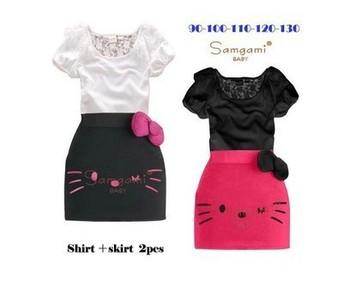 Hello kitty short sleeve girls summer girls skirt suit, children's short-sleeved T shirt + bow skirt free shipping