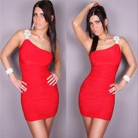 2014 new European and American Shoulder Clubwear Nightclub apparel Bar lead dancer clothing Beer girl dress Sexy dress