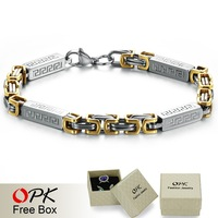 OPK MEN JEWELRY  Free Shipping, Champaign Gold Plated stainless steel bracelet, Men's link chain bracelet, Unique Style 632